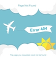 Airplane with 404 error notification vector image vector image