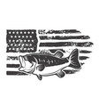 american flag with bass fish design element vector image vector image