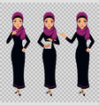 arab business woman character in different poses vector image vector image