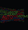 auto accident lawyer text background word cloud vector image vector image