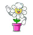 chef daisy flower character cartoon vector image vector image