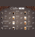 coffee drinks menu price list template vector image vector image