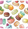 delicious food france colored macaroons set vector image