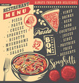 diner menu with spaghetti dish vector image vector image