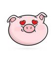 fall in love emoticon icon emoji pig vector image