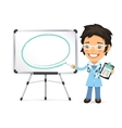 Female Doctor With Marker in Front of the vector image vector image