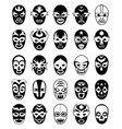 fighters masks mexican lucha libre silhouettes of vector image