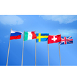 Flags on blue sky background vector image