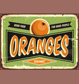 fresh organic oranges vintage sign vector image vector image
