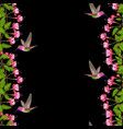fuchsia and hummingbird seamless border vector image vector image
