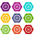 gear wheel icon set color hexahedron vector image vector image