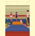 girls hanging on horizontal bar vector image vector image