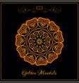 gold color indian mandala over black vector image vector image