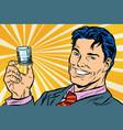 happy man and a vodka shot vector image vector image
