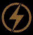 hexagon halftone electric power icon vector image vector image