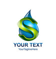 letter s logo design template colored blue green vector image