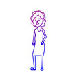 line woman with hairstyle and dress design vector image vector image