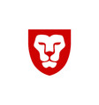 lion head with shield vector image vector image