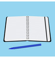 office notebook with pen vector image vector image