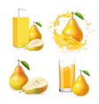 pears juice realistic set juice splash vector image