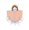 pensive hipster girl in glasses reading book or vector image vector image