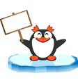 Pinguino con cartello vector image vector image