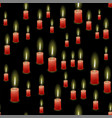 red burning wax candles seamless pattern vector image vector image
