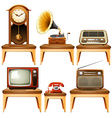 Retro antiques on wooden table vector image vector image