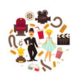 retro cinema or movie time cinematography poster vector image vector image