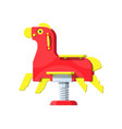rocking horse on white horse toy on spring vector image vector image