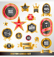 set of gold labels vector image vector image