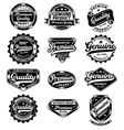 set of premium quality and genuine vintage labels vector image vector image