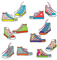 Set of sneakers with pattern funny vector image