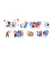 set people with shields protecting from dangers vector image vector image