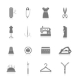 Sewing equipment icons set black vector image