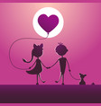 silhouettes of a boy and a girl walking in the vector image