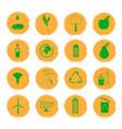 sixteen yellow grunge icons vector image