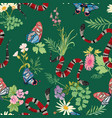 snakes and tropical butterflies seamless pattern vector image
