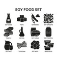soy food silhouette icons set vector image vector image