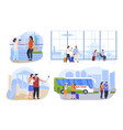 tourists on vacation set flat vector image