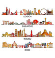 triangular design london singapore madrid rome vector image