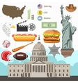 USA culture symbol set Europe Travel direction vector image