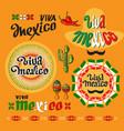 viva mexico icon set of cute various mexican vector image
