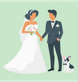 wedding day with dog vector image vector image