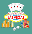 welcome to las vegas sign with gambling elements vector image vector image