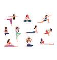 yoga characters women doing yoga exercises vector image
