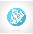 Round blue tickets for couple flat icon vector image