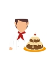 bakery chef with cake vector image