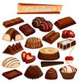 set of yummy assorted chocolate food dessert vector image