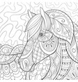 adult coloring bookpage a cute horse image for vector image
